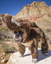 Bulldog posed as a woolly mammoth on rock dressed up Stock Image