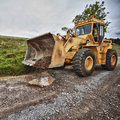 Bulldozer in action industrial construction equipment grunge Royalty Free Stock Photos