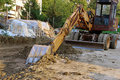 Bulldozer on building site Royalty Free Stock Image