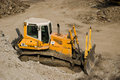Bulldozer close up yellow dozer on building site Royalty Free Stock Photography