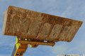 Bulldozer excavation scoop on sky background Royalty Free Stock Images