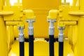 Bulldozer hydraulic hoses Royalty Free Stock Photo