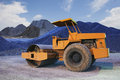 Bulldozer tank road construction machine and sand rock for construction site file Royalty Free Stock Image
