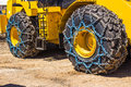 Bulldozer With Tire Chains