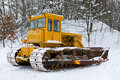 Bulldozer in the winter Royalty Free Stock Image