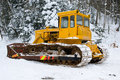 Bulldozer in the winter Royalty Free Stock Images