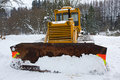 Bulldozer in the winter Stock Images