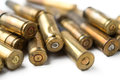 Bullet casings close up on white background Royalty Free Stock Images