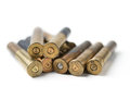 Bullet casings on white background Royalty Free Stock Photo