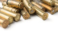 Bullet casings on white background Royalty Free Stock Image