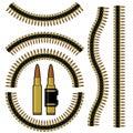 Bullet and machinegun cartridge belt Royalty Free Stock Photo
