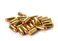 Bullet placed on white background. Royalty Free Stock Photo