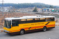 Bullet proof bus in gush etzion west bank outside a winery israel Stock Photos