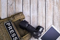 Bulletproof vest for press,camera and tablet pc Royalty Free Stock Photo