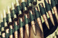 Bullets in ammunition belt for machine gun Royalty Free Stock Photo