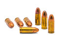 Bullets close up of mm isolated on white background with clipping path Royalty Free Stock Image