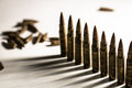 Bullets lined in a row. War, criminal, army, weapon concept Royalty Free Stock Photo