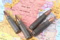 Bullets on the map of democratic republic of congo four geographical conceptual image for war conflict violence Royalty Free Stock Photos