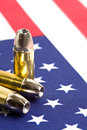 Bullets over American flag Stock Photos