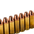 Bullets row a lot of mm arranged in a and isolated over a white background Royalty Free Stock Image