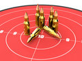 Bullets on the top of red target, ammo, ammunition Royalty Free Stock Photo