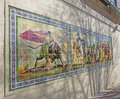 Bullfight mural triptych of tiles on exterior wall at country club plaza in kansas city mo depicts Stock Photo