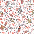 Bullfinch birds seamless pattern with Mountain ash leaves and berries. Merry Christmas collection background. Natural