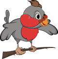 Bullfinch cartoon the little it is grey a red bird sitting on a branch Royalty Free Stock Photo