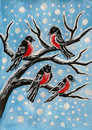 Bullfinches on branch, painting Stock Image