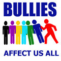 Bullies affect us all illustration assorted colors on white Stock Images