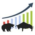 Bullish and bearish symbols Royalty Free Stock Photo