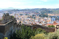 Bullring in malaga spain fort walls with a city view of Royalty Free Stock Photos