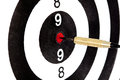 Bulls eye target with dart on white background Royalty Free Stock Photo