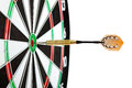 Bulls eye target with dart on white background Stock Photography
