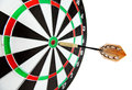 Bulls eye target with dart on white background Stock Image