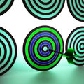 Bulls eye target shows focused precision shot showing accurate Royalty Free Stock Photo