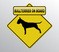 Bullterrier on board label with silhouette Royalty Free Stock Images