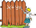 Bully boy writes on the fence Royalty Free Stock Image