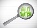 Bully watch sign illustration design over a notepad paper Stock Photos