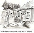 Bullying the three little pigs are suing you for Royalty Free Stock Image