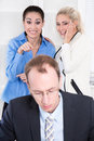 Bullying at workplace woman and her boss women talking about his or colleague Stock Photos
