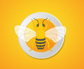 Bumble-Bee Isolated on Plate Royalty Free Stock Photo