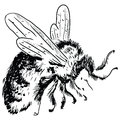 Bumblebee figure is made by hand vector illustration Royalty Free Stock Photography