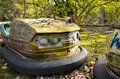 Bumper cars in amusement park in pripyat remainings of left Stock Photography