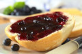 Bun with blueberry jam on half a a knife beside selective focus focus on the front of the and Royalty Free Stock Photo