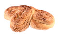 Bun with sugar crust on the isolated on a white background Royalty Free Stock Photos