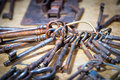 Bunch with ancient iron keys Royalty Free Stock Photo