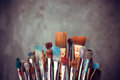 Bunch of artist paintbrushes Royalty Free Stock Photo