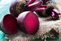 Bunch of beetroot fresh on wooden table Royalty Free Stock Photos