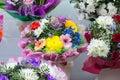 bunch of big fresh orange pink red gerbera chamomile and big white yellow blue chrysanthemum flower Royalty Free Stock Photo
